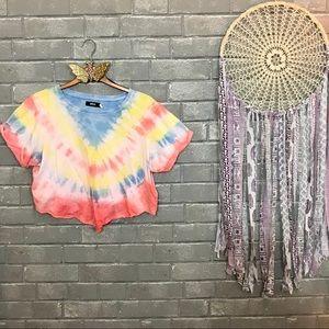 bdg // boho rainbow pastel tie dye cropped tee m